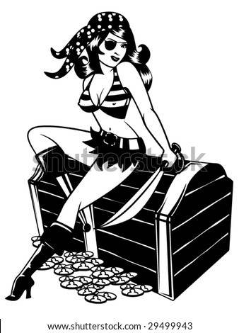 stylized vector illustration of a sexy pinup dressed as a pirate - stock vector