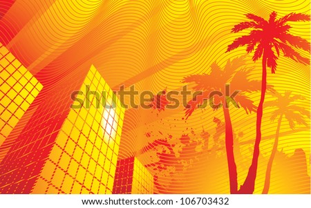 Stylized vector illustration of a very hot summer evening in the downtown area of a city. - stock vector