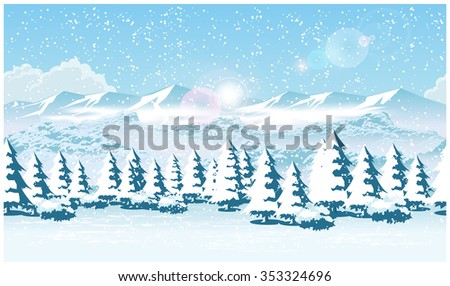 Stylized vector illustration of a winter forest during a snowfall. Seamless horizontally if needed