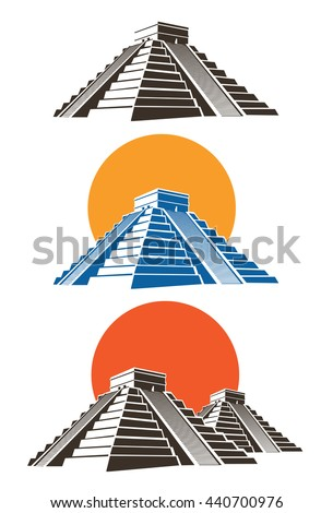 Stylized vector illustration of ancient Mayan pyramids