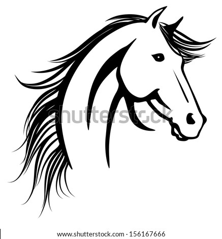 Stylized vector illustration of elegant horse's head