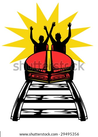 stylized vector illustration of people on a roller coaster - stock vector