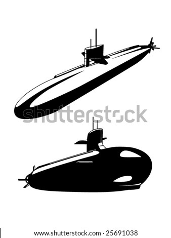 stylized vector illustration of 2 views of a nuclear submarine - stock vector