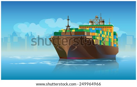 Stylized vector illustration on the theme of marine transportation. large cargo ship leaving the harbor with cargo - stock vector