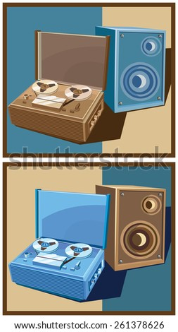 Stylized vector illustration on the theme of retro electronics. old reel tape recorder with speaker.  in two color options - stock vector