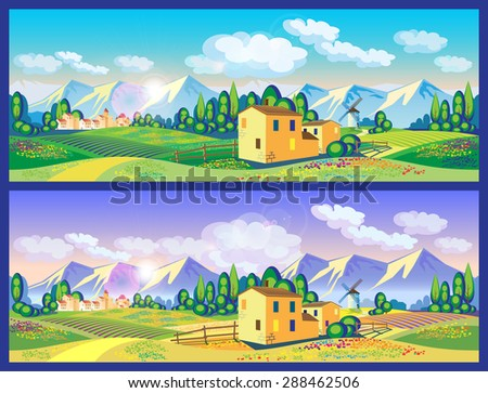 stylized vector illustration on the theme of the village, farming, beautiful landscape of fields and mountains. seamless horizontally if needed - stock vector