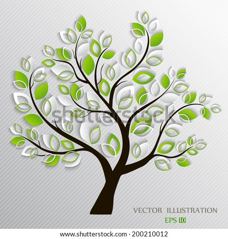 Stylized vector paper tree - stock vector