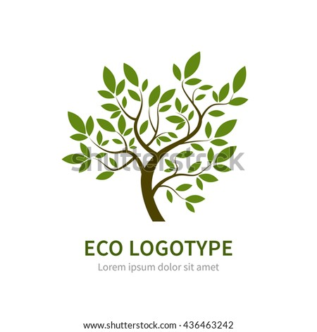 Stylized vector simple tree logo. Vector tree logotype for gardening and environment concepts. Eco logo - stock vector