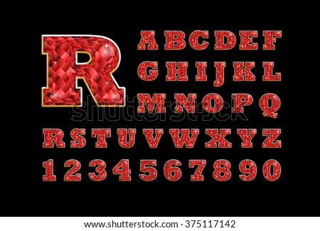 Stylized  vector sparkling jeweled ruby precious stone  fancy latin abc alphabet. Use letters to make your own text - stock vector