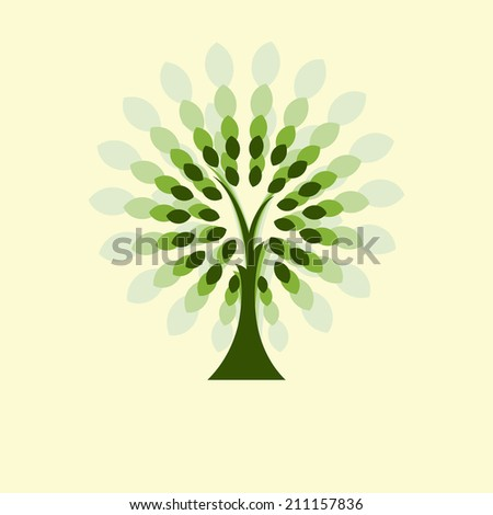 Stylized vector tree, abstract fantastic vector tree, magic tree silhouette - stock vector