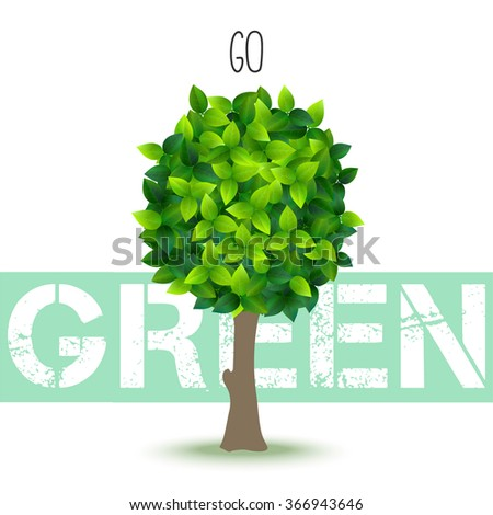 stylized vector tree made of many fresh green leaves - stock vector