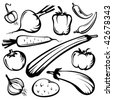 Stylized vegetables set silhouettes isolated on a white background. - stock vector