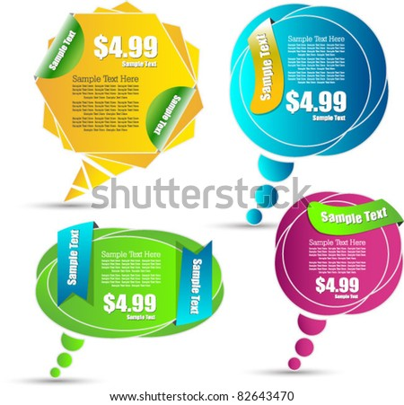 stylized web elements for sale and advertisement - stock vector