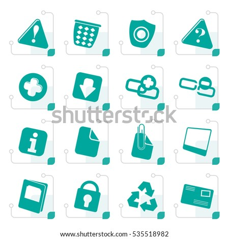 Stylized Web site and computer Icons - Vector Icon Set