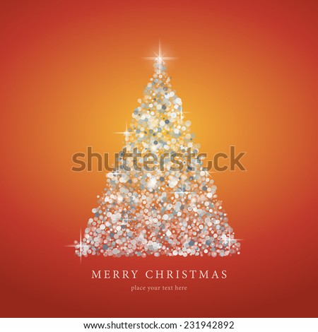 Stylized white Christmas tree silhouette from art graphics circle vector on red gradient background. EPS10