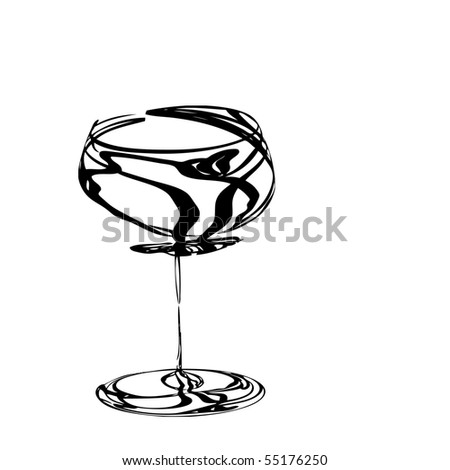 stylized wine glass for fault - stock vector