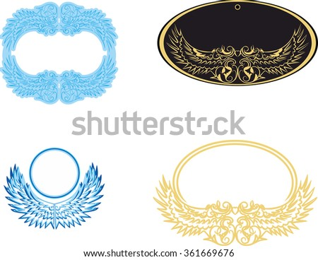Stylized wings white and gold frame. Frame for the photo. Vintage frame with ornaments. Vector frame for processing. Logo for a luxury store - stock vector