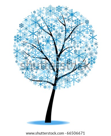 Stylized winter tree. Object isolated for Your design