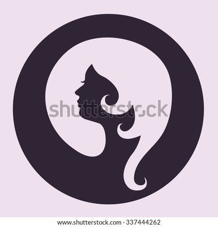 Stylized woman head silhouette vector