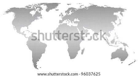 Stylized world map ,square dots.Vector.  Separate layers - stock vector