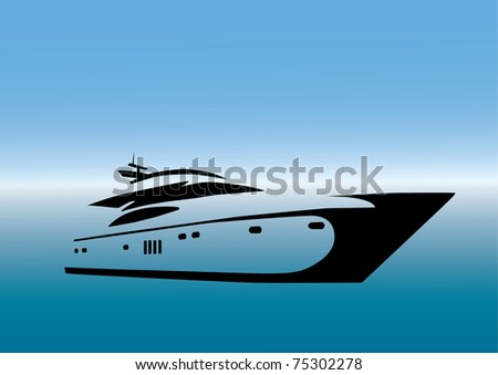 stylized yacht  black on blue gradient background