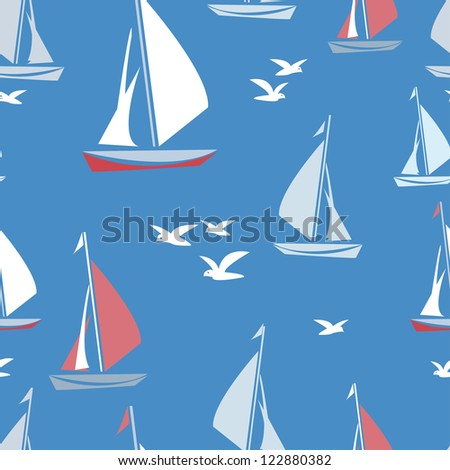 Stylized yachts and seagulls seamless pattern in clear and cheerful tones. Endless background