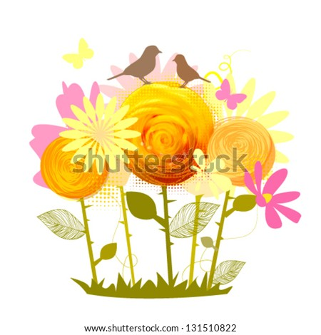 stylized yellow Roses with birds - stock vector