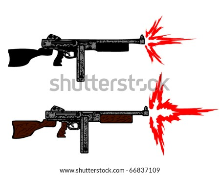 "Submachine gun/cartoon weapon/flame of shot.""Trench Sweeper"" - stock vector"