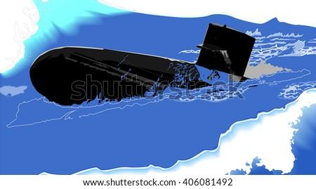 Submarine at sea - stock vector