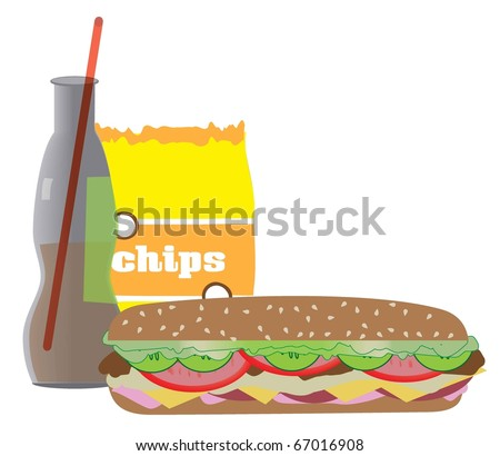 Submarine sandwich also known as hoagie, hero with soft drink and chips - stock vector
