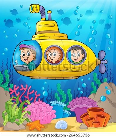 Submarine theme image 2 - eps10 vector illustration. - stock vector