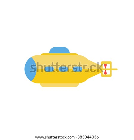 Submarine. Vector illustration. Flat style yellow submarine - stock vector
