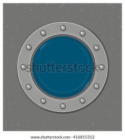 Submarine window or porthole with underwater view - stock vector