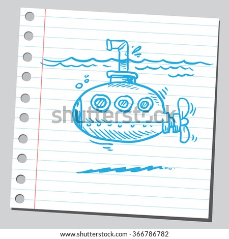 Submarine with periscope - stock vector