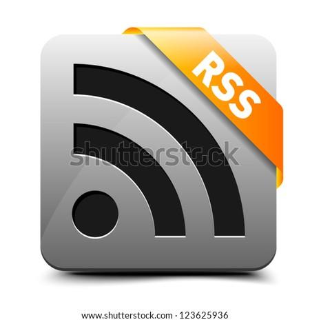 Subscribe via RSS button - stock vector