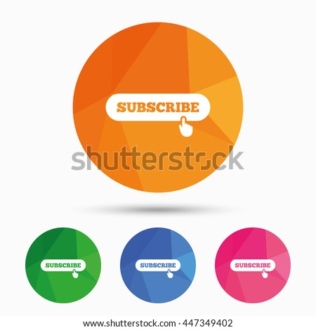 Subscribe with hand pointer sign icon. Membership symbol. Website navigation. Triangular low poly button with flat icon. Vector - stock vector