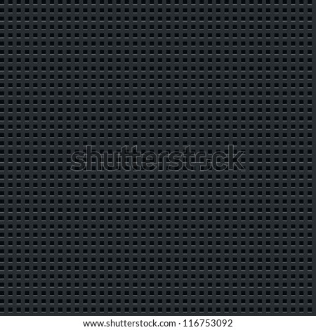 Subtle pattern dark background. Seamless texture perforated metal surface with square holes. Contemporary swatch simple modern style. This clip-art vector illustration web design elements saved 8 eps - stock vector