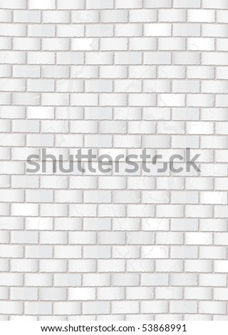 Subtle white grunge brick wall with grey cement background - stock vector