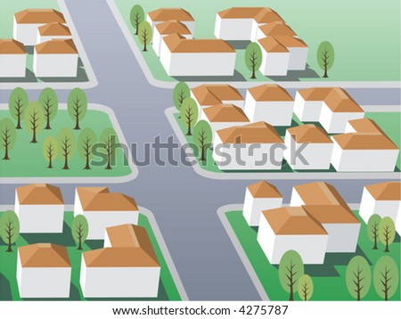 Suburb buildings design - stock vector