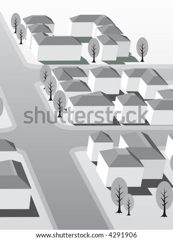 Suburb buildings design for real estate - stock vector