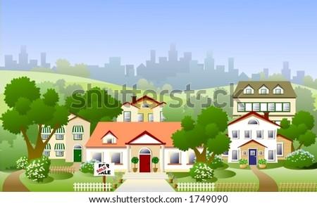 Suburb neighbourhood - stock vector