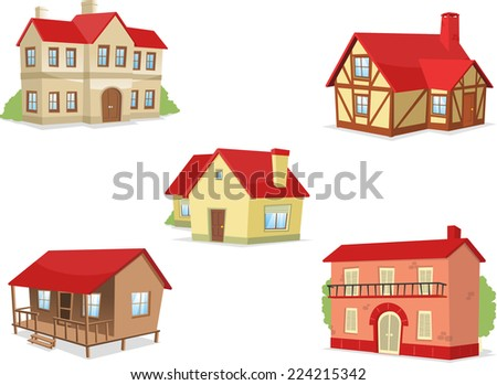 Suburb residential house townhouse villa set vector illustration.  - stock vector