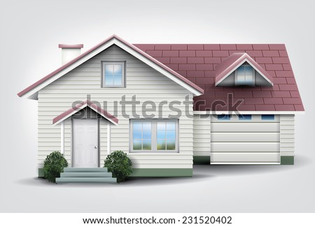 Suburban family house with garage.  - stock vector