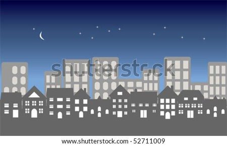 Suburban homes in front of a city at night - stock vector