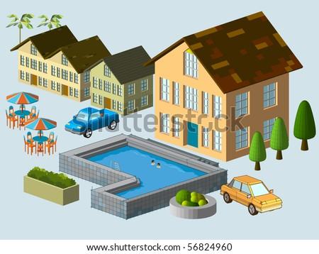 Suburban House complete, very detail isometric vector. see the others - stock vector