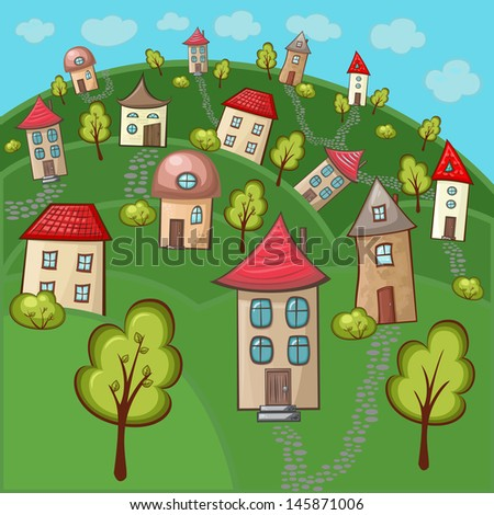 Suburbs and houses on background of the nature and hills - stock vector