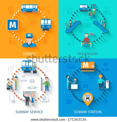 Subway design concept set with passenger station and service flat icons isolated vector illustration - stock vector