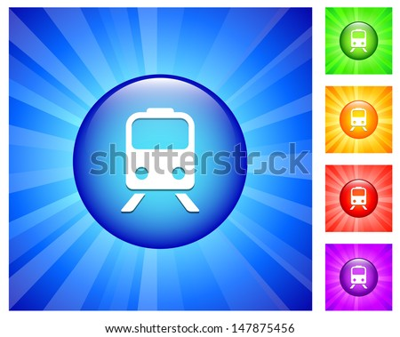 Subway Icon on Round Button with Blue Glow - stock vector