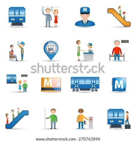 Subway metro underground public transport icons set isolated vector illustration - stock vector