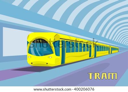 Subway Tram Modern City Public Transport, Underground Rail Road Station Flat Vector Illustration - stock vector